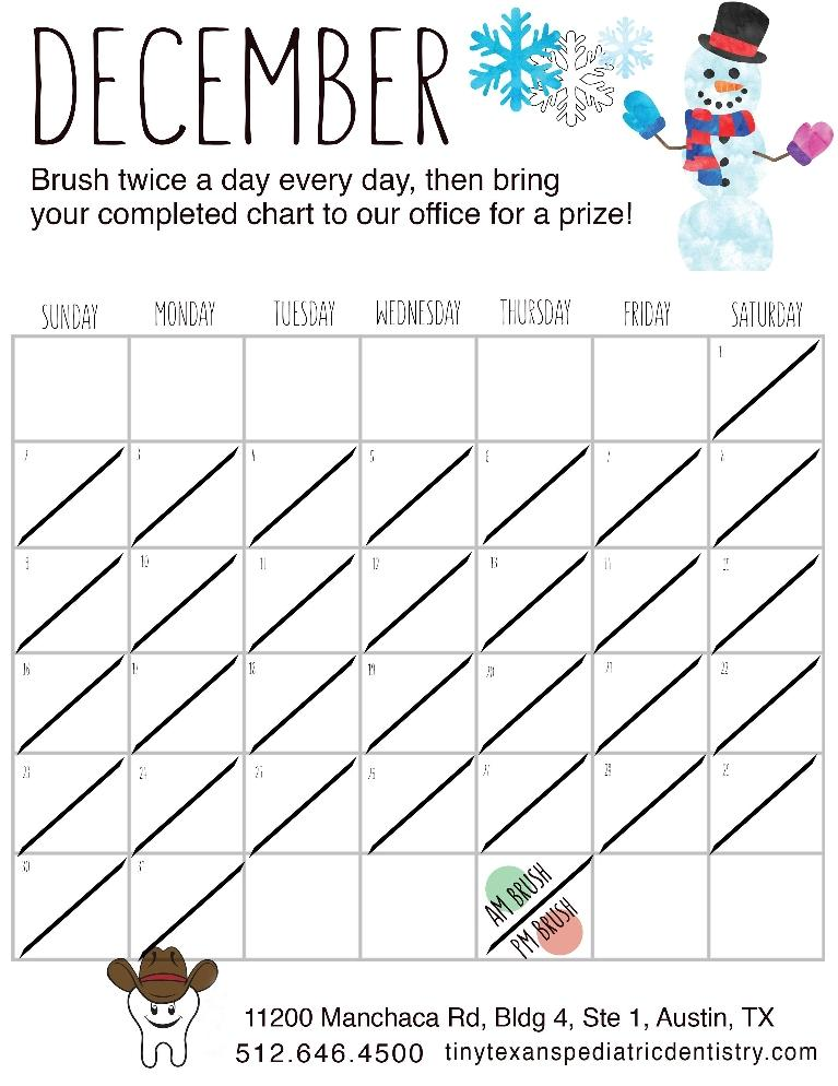 December tooth brushing chart