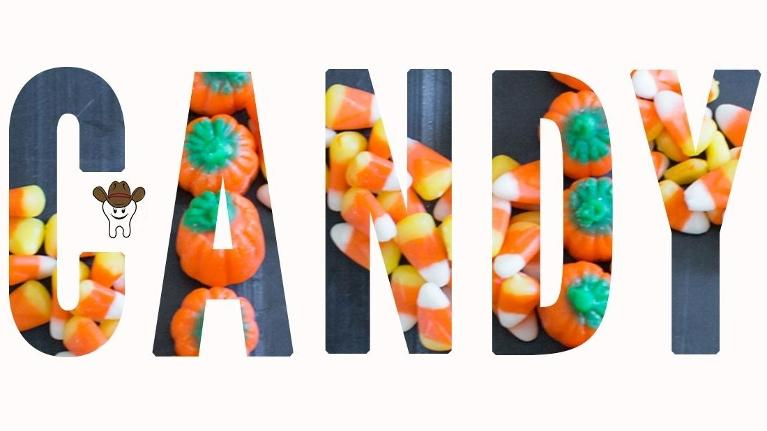 candy corn spelling the word Candy