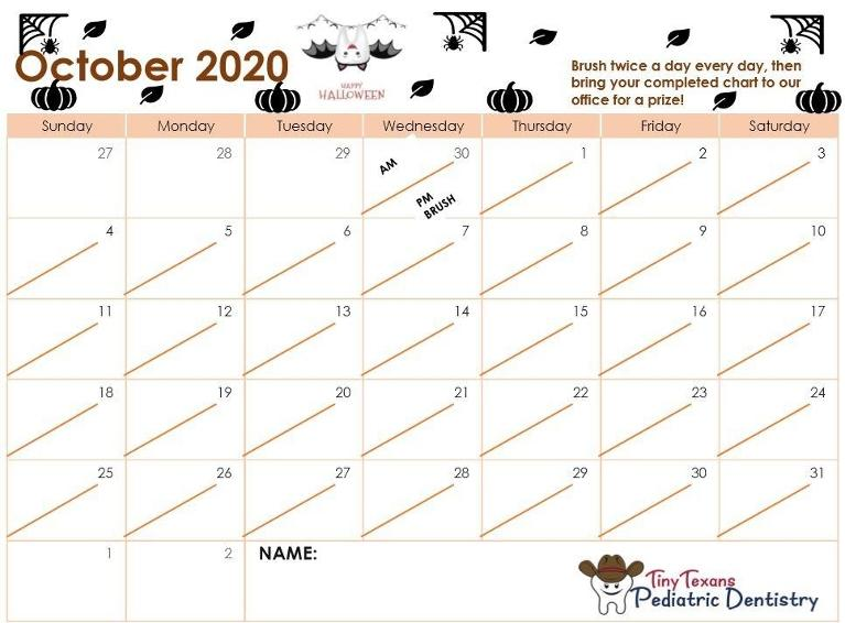 October 2020 tooth brushing chart