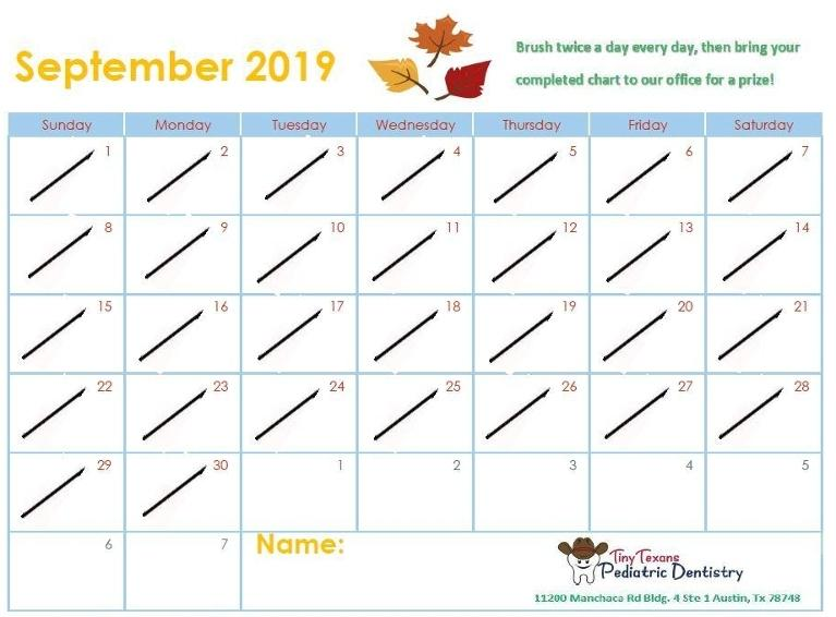 September calendar with areas to mark when you brush